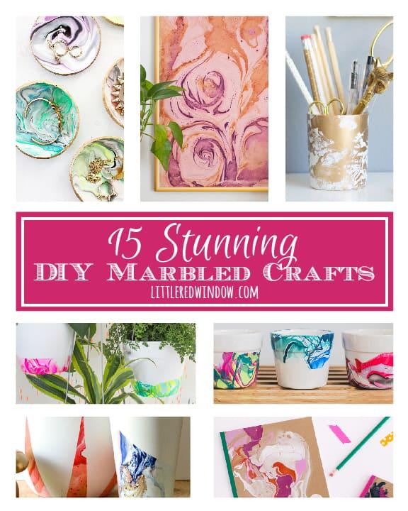 15 Stunning DIY Marbled Crafts! | littleredwindow.com