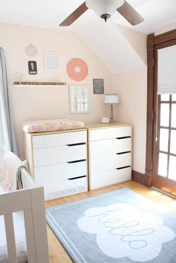 Baby Girl's DIY Nursery! | littleredwindow.com | Cute girly nursery full of fun and easy DIY craft projects!