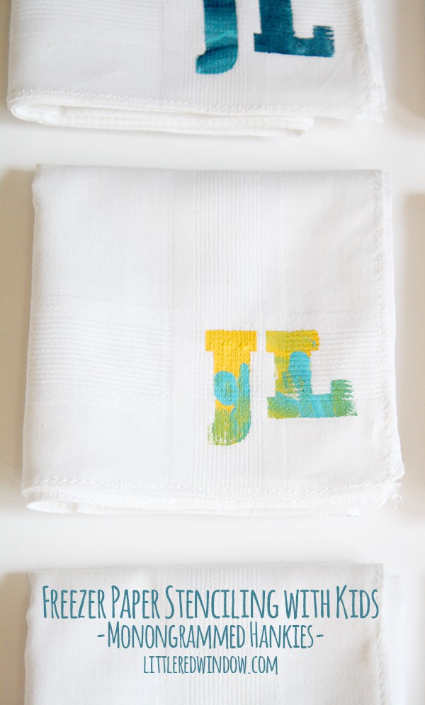 Freezer Paper Stenciling with Kids! | littleredwindow.com | Make these cute monogrammed hankies with your little ones, they make great gifts!