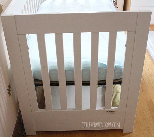 Super Easy No Sew Crib Skirt!  | littleredwindow.com | Make your own custom crib skirt in just a few minutes, no sewing machine required!