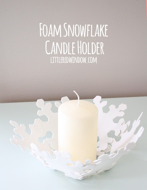 Easy DIY Snowflake Candle Holder| littleredwindow.com | This would be a fun project to make with older kids!