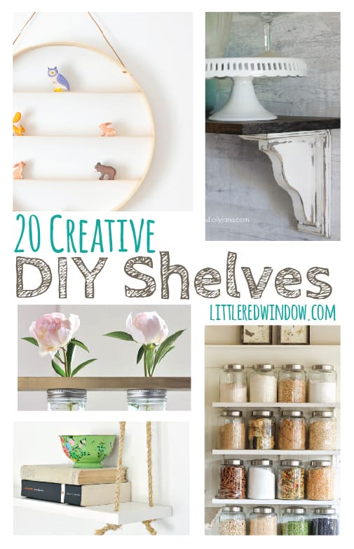 20 Creative DIY Shelves you can make yourself!  | littleredwindow.com