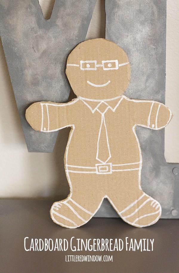 Cardboard Gingerbread Man Family | littleredwindow.com