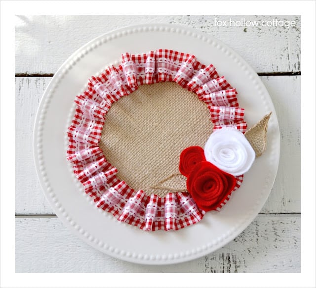 Valentine Craft Burlap Plate Wall Decor Hanging Red White Ribbon