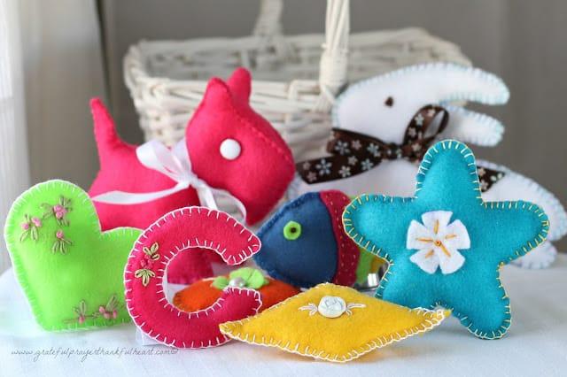 baby 1st birthday basket of felt toys scotty dog schnauzer bunny heart fish star 1784 wm