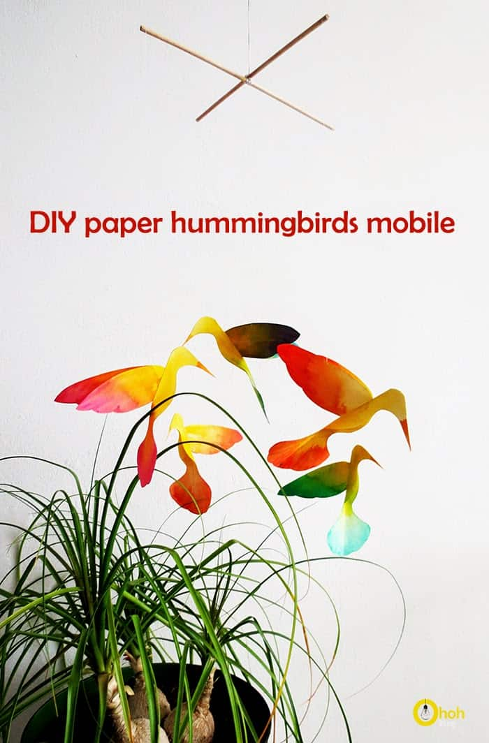 diy paper hummingbirds mobile colibri ohohblog 1