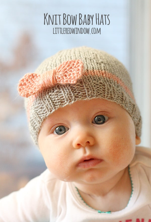 Free Baby Beanie Knitting Pattern : Knit Bow Baby Hats - Little Red Window