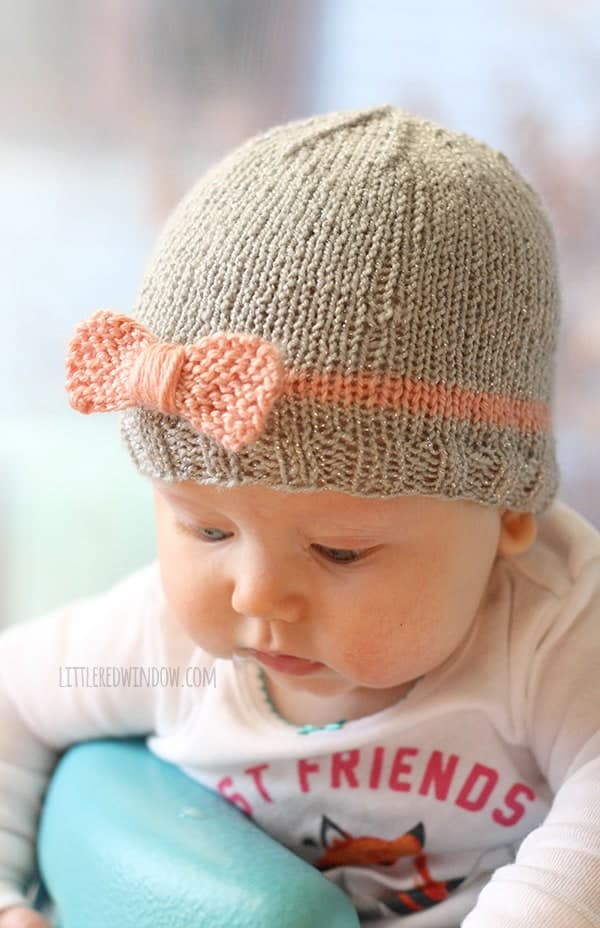 Knitted Baby Beanies Free Patterns : Knit Bow Baby Hats - Little Red Window
