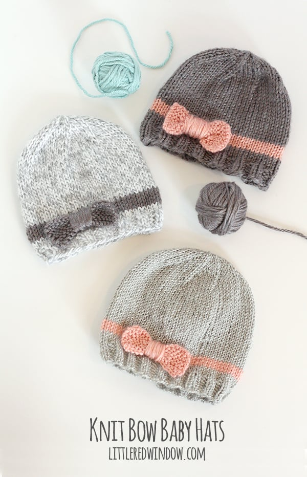 Knitting Patterns Child Hats Free : Knit Bow Baby Hats - Little Red Window