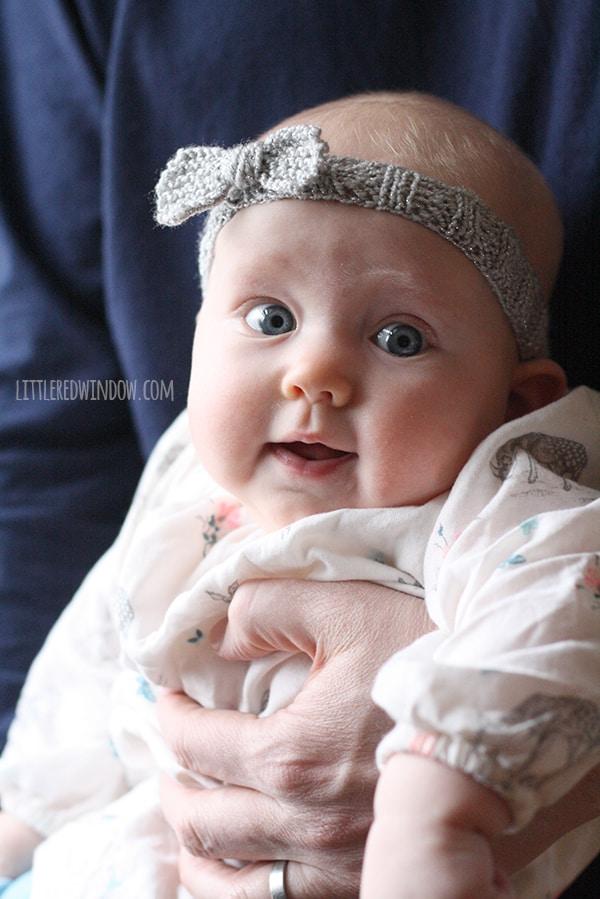 Knitting Pattern For Baby Girl Headbands : Knit Bow Baby Headband - Little Red Window