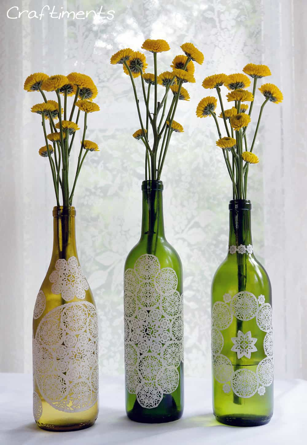 paper doily decoupage bottle 4