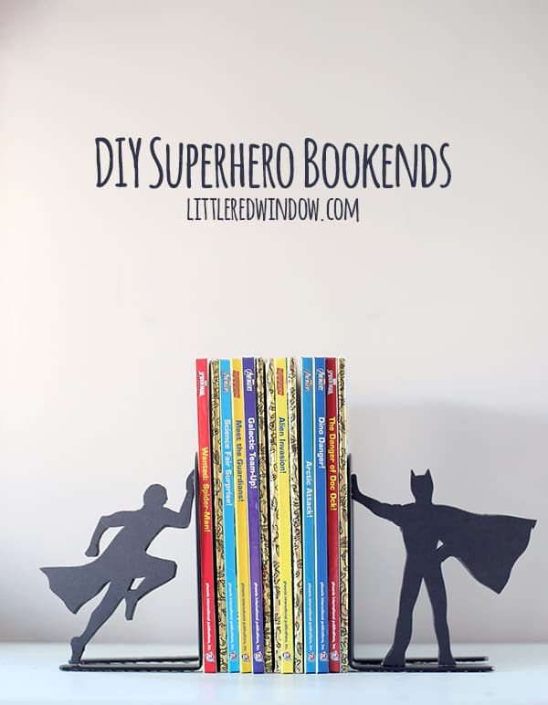 DIY Superhero Bookends for the comic book lover in your life! |  littleredwindow.com