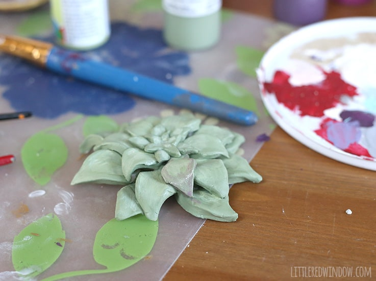Air Dry Clay Faux Succulent tutorial, perfect if you don't have a green thumb! | littleredwindow.com