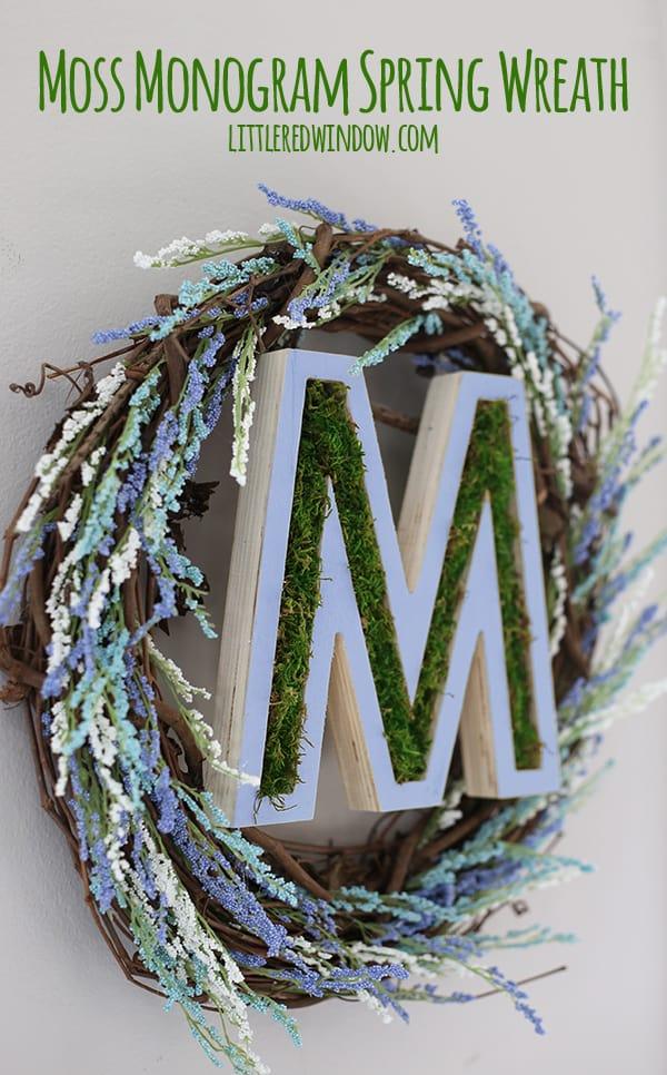 DIY Moss Monogram Spring Wreath! | littleredwindow.com