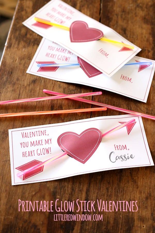 Free Printable Glow Stick Valentines!   littleredwindow.com