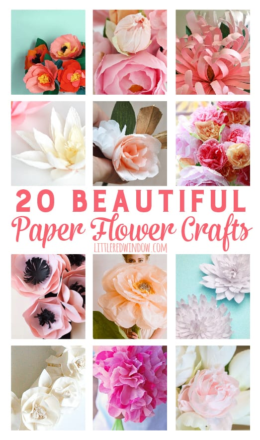 20 Beautiful Paper Flower Crafts | littleredwindow.com | These flowers are so gorgeous it's hard to believe they aren't real!