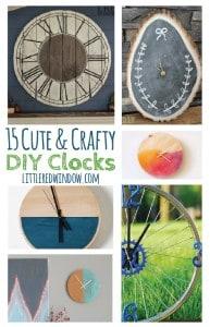15 Cute & Crafty DIY Clocks, you'll never be late again! | littleredwindow.com