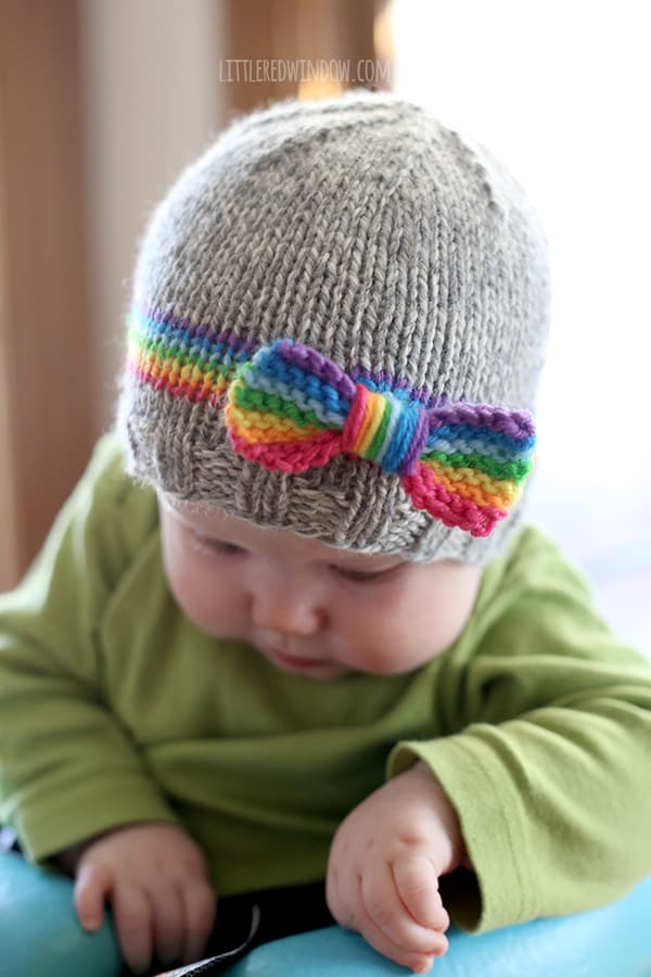 Knitting A Hat For A Baby : Rainbow baby hat knitting pattern little red window