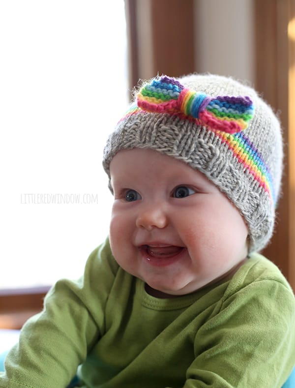Knitting Patterns For Baby Boy Hats : RainBOW Baby Hat Knitting Pattern - Little Red Window