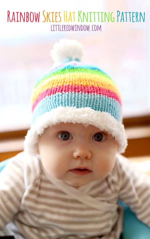 Rainbow Skies Baby Hat Free Knitting Pattern | littleredwindow.com