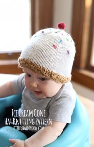 Knit an adorable Ice Cream Hat with this FREE knitting pattern! (complete with sprinkles and a cherry on top!) | littleredwindow.com