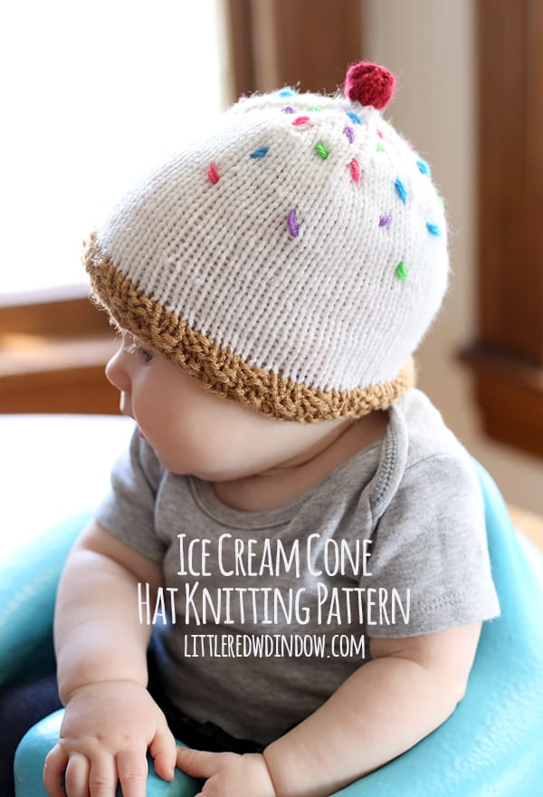 Knitting Pattern Top Hat : Ice Cream Hat Knitting Pattern - Little Red Window