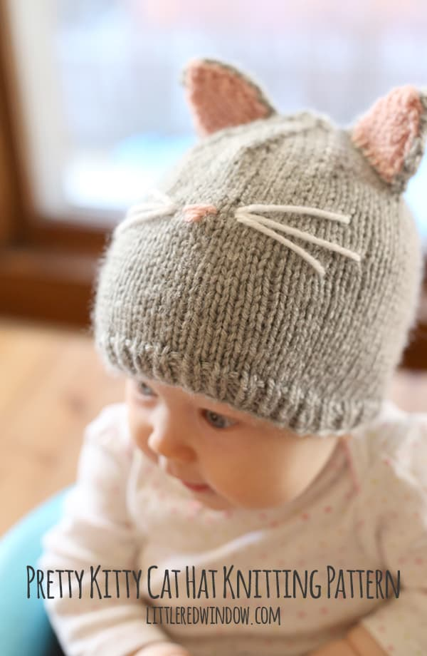 Knitting Pattern Cat Clothes : Pretty Kitty Cat Hat Knitting Pattern - Little Red Window
