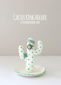 Clay Cactus Ring Holder, make your own cute cactus to hold your jewelry from air dry clay! | littleredwindow.com