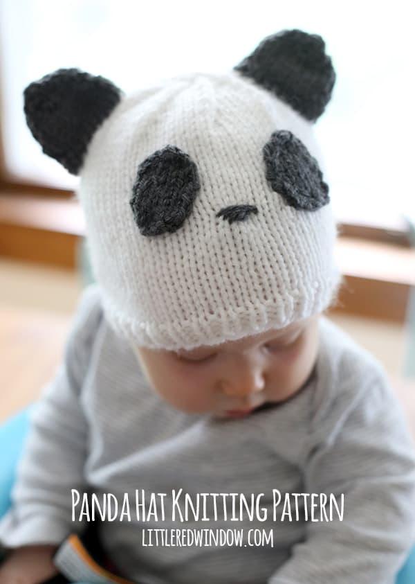 Knitting Pattern For Panda Hat : Sweet Panda Hat Knitting Pattern - Little Red Window