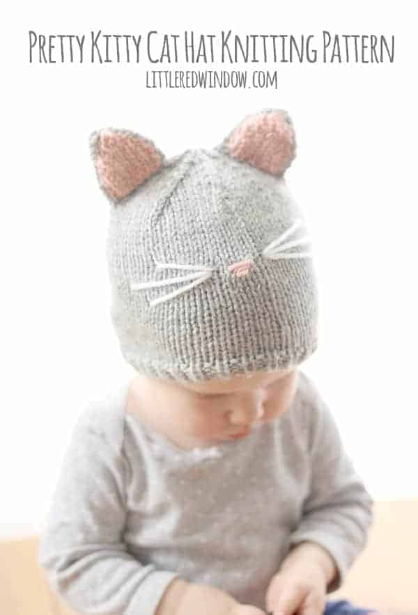Pretty Kitty Cat Hat Knitting Pattern - Little Red Window