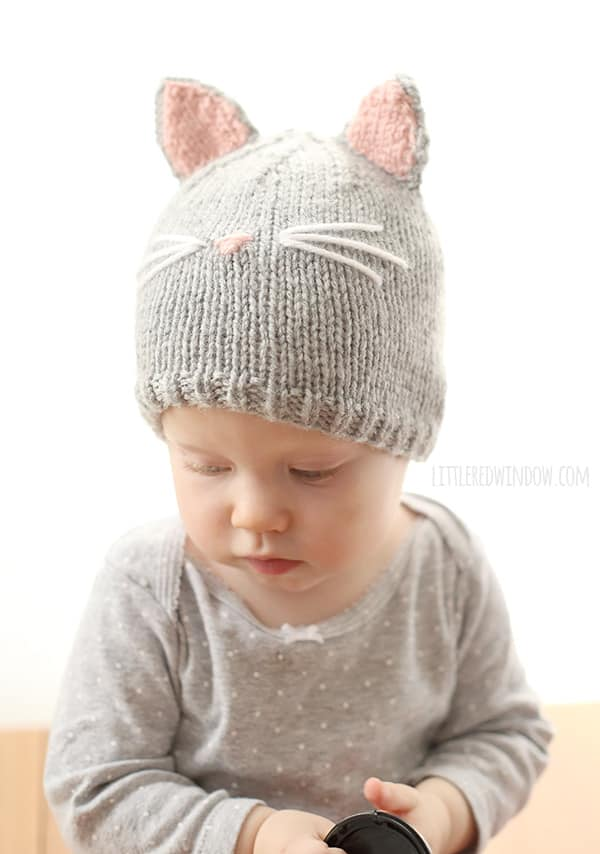 Knitting Pattern Kitty Cat Hat : Pretty Kitty Cat Hat Knitting Pattern - Little Red Window