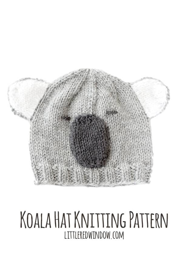 Cuddly Koala Hat Knitting Pattern - Little Red Window