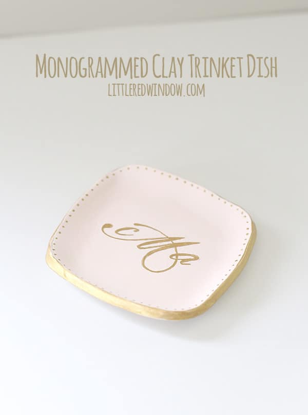 Monogrammed Clay Trinket Dish | littleredwindow.com