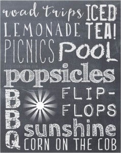 Free Chalkboard Summer Subway Art Printable from littleredwindow.com!