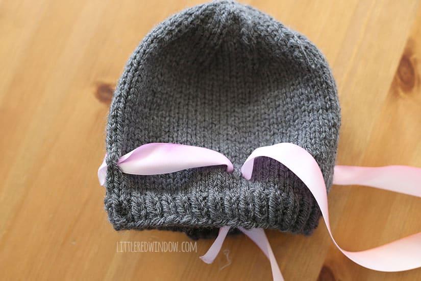 Watercolor Ribbon Bow Hat Free Knitting Pattern!   littleredwindow.com