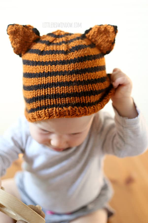 Tiny Tiger Hat Knitting Pattern - Little Red Window