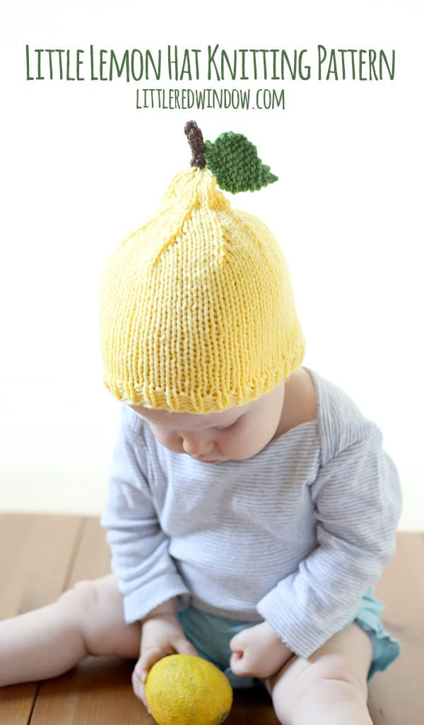 Little Lemon Hat Free Knitting Pattern for Babies! | littleredwindow.com