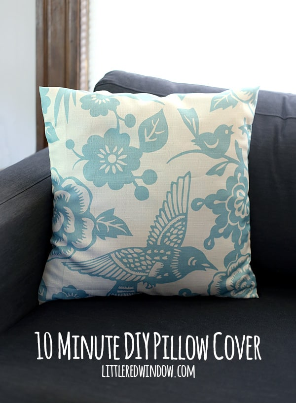 10 Minute DIY Pillow Cover with buttons! You won't believe what it's made from! | littleredwindow.com