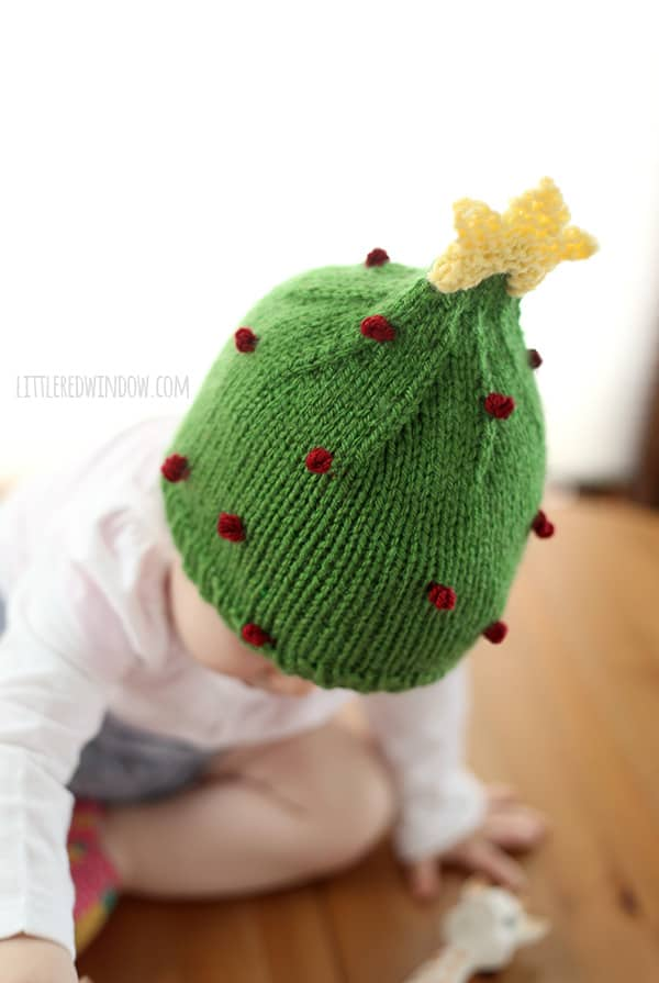 Knitted Christmas Tree Hat Pattern : Christmas Tree Hat Knitting Pattern - Little Red Window