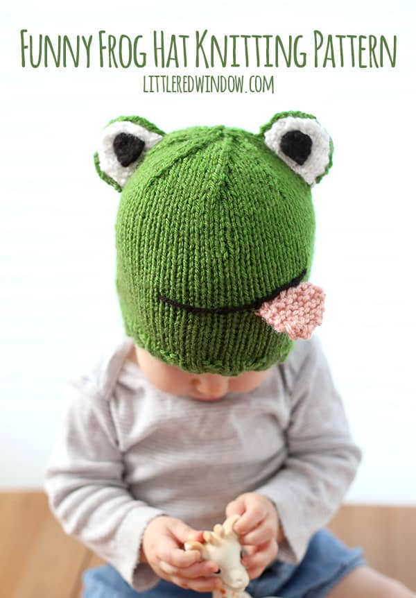 Knitting Pattern For Frog Hat : Funny Frog Hat Knitting Pattern - Little Red Window