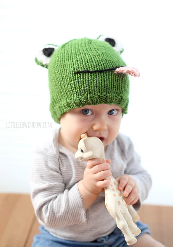 Funny Frog Baby Hat Free Knitting Pattern | littleredwindow.com