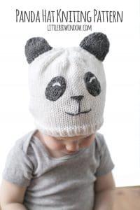 Sweet Panda Hat Knitting Pattern for newborns, babies and toddlers! | littleredwindow.com