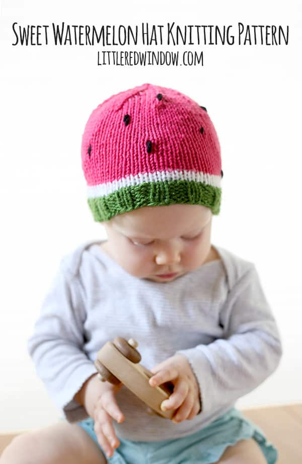 Sweet Watermelon Hat Knitting Pattern! | littleredwindow.com