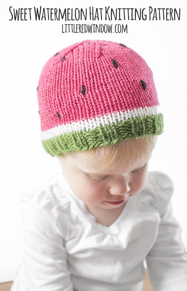 Sweet Watermelon Hat Knitting Pattern - Little Red Window