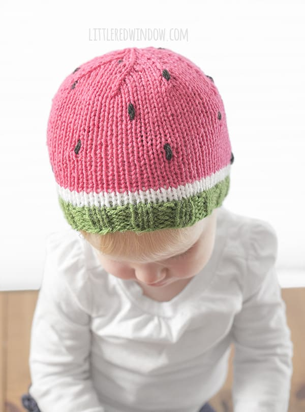 Sweet Watermelon Hat Knitting Pattern for newborns, babies and toddlers! | littleredwindow.com
