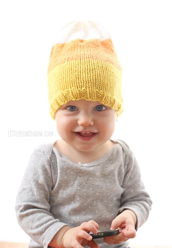 Yummy Candy Corn Hat Knitting Pattern for babies and toddlers! | littleredwindow.com