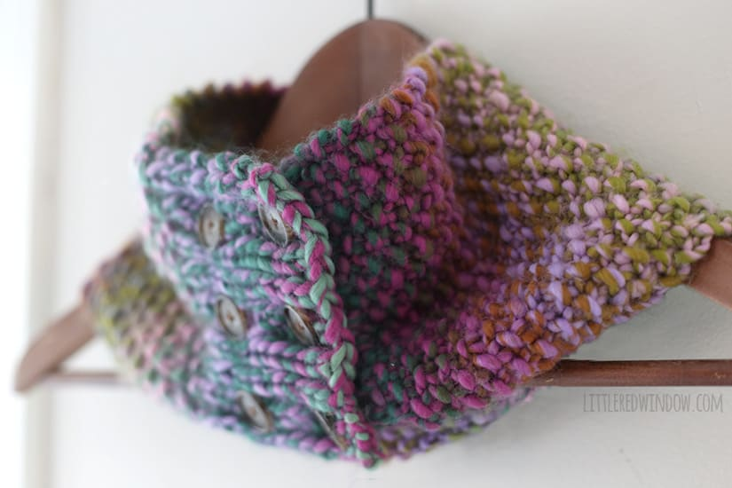 The Buttoned Up Cowl Knitting Pattern | littleredwindow.com