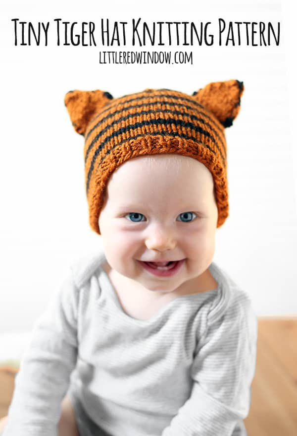 Tiny Tiger Hat Free Knitting Pattern for Babies!  | littleredwindow.com