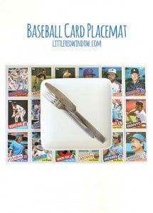 Use old baseball cards to make this quick and easy DIY Baseball Card Placemat! | littleredwindow.com