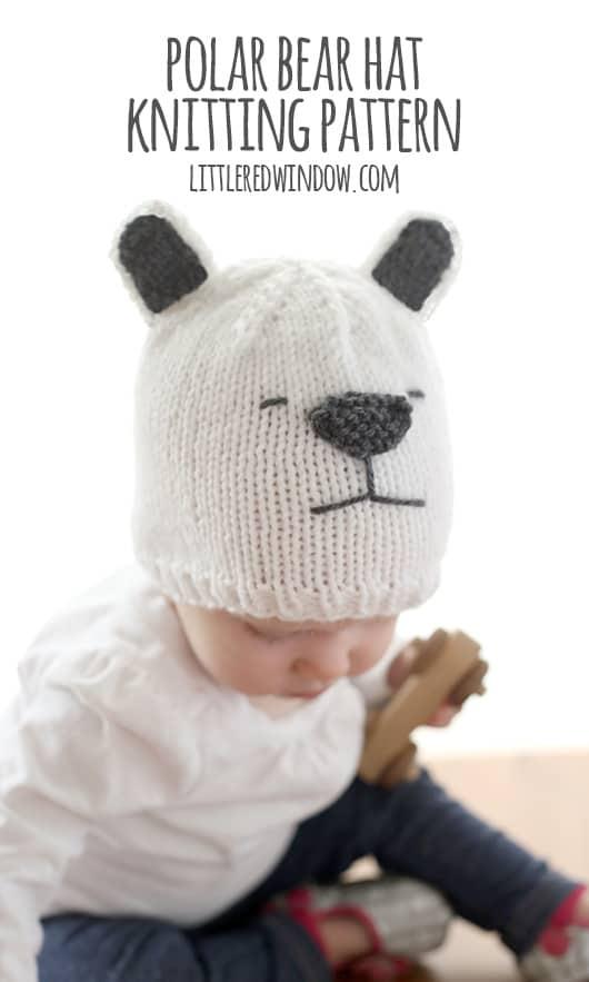 Little Polar Bear Hat Knitting Pattern, perfect for winter! | littleredwindow.com